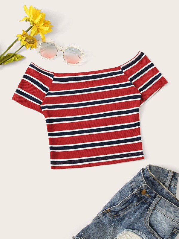 Off The Shoulder Striped Crop Tee, null