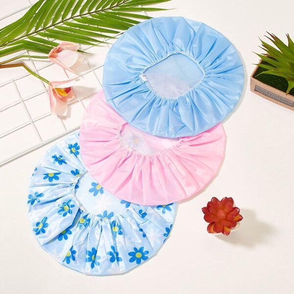 3pcs Floral Shower Caps