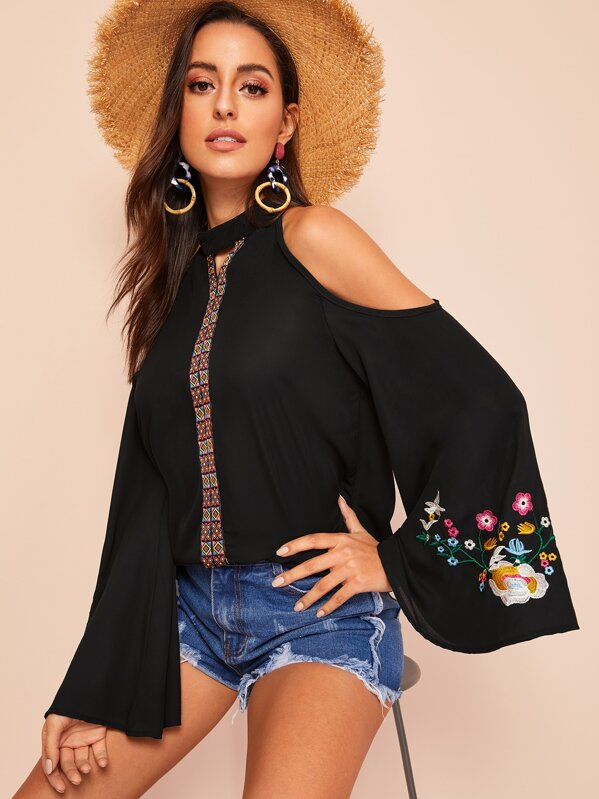Halter Cold Shoulder Fluted Sleeve Embroidered Top