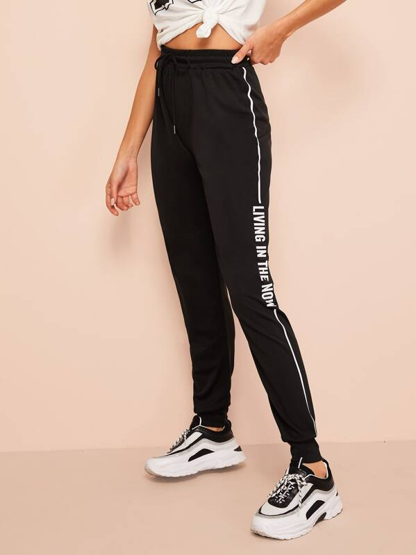 Letter and Striped Side Sweatpants