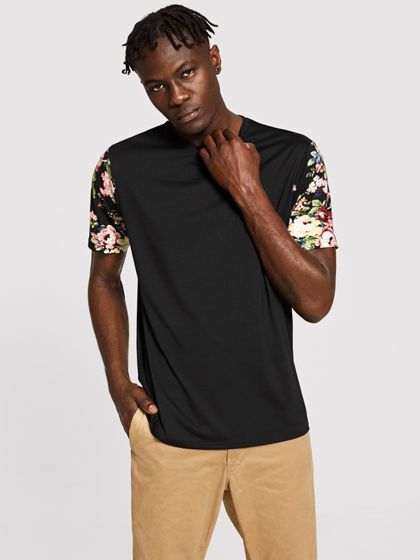 Men Floral Print Sleeve Round Neck Tee, Henry B