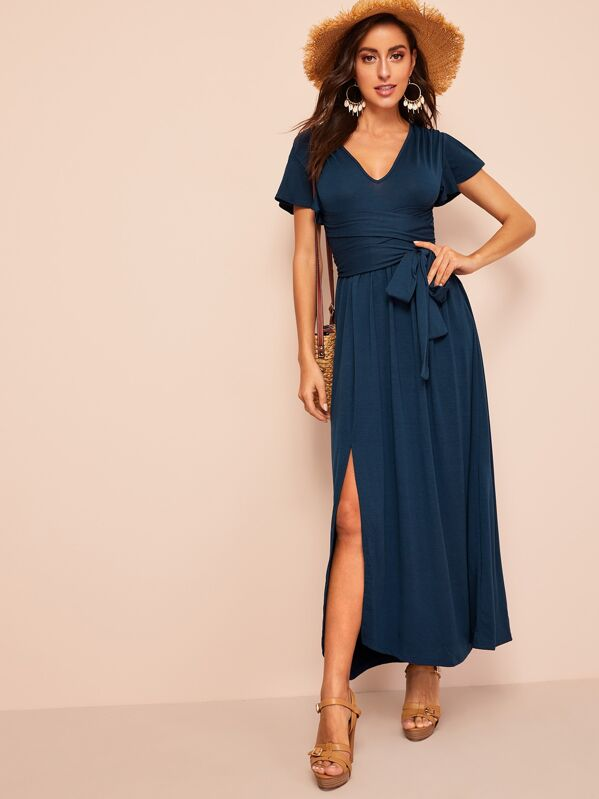 Split Sleeve and Hem Belted Jersey Dress, Mary P.