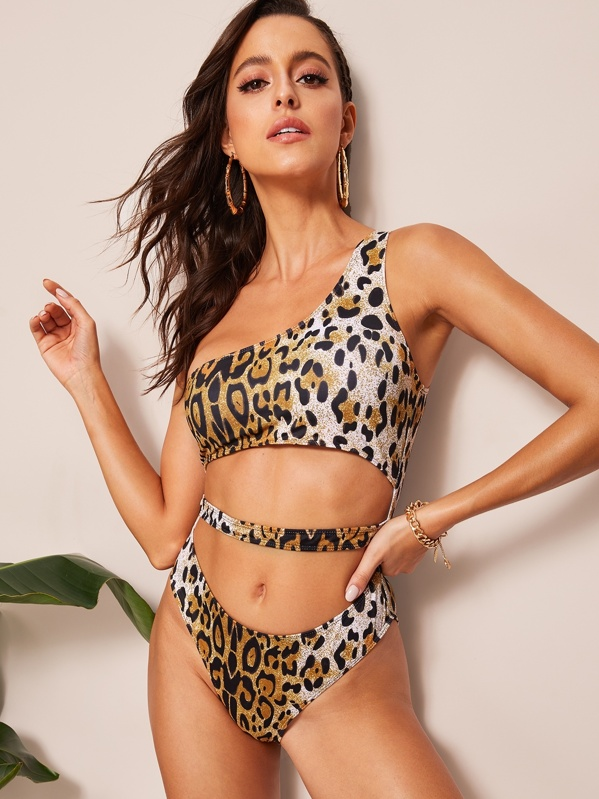 Leopard Cut-out One Shoulder One Piece Swim