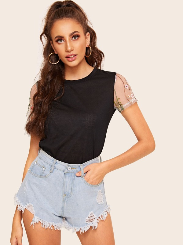 Contrast Embroidered Mesh Short Sleeve Tee