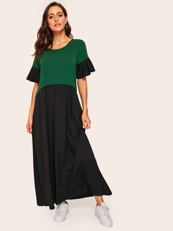 Color Block Flounce Sleeve Longline Dress, Multicolor, Mary P.