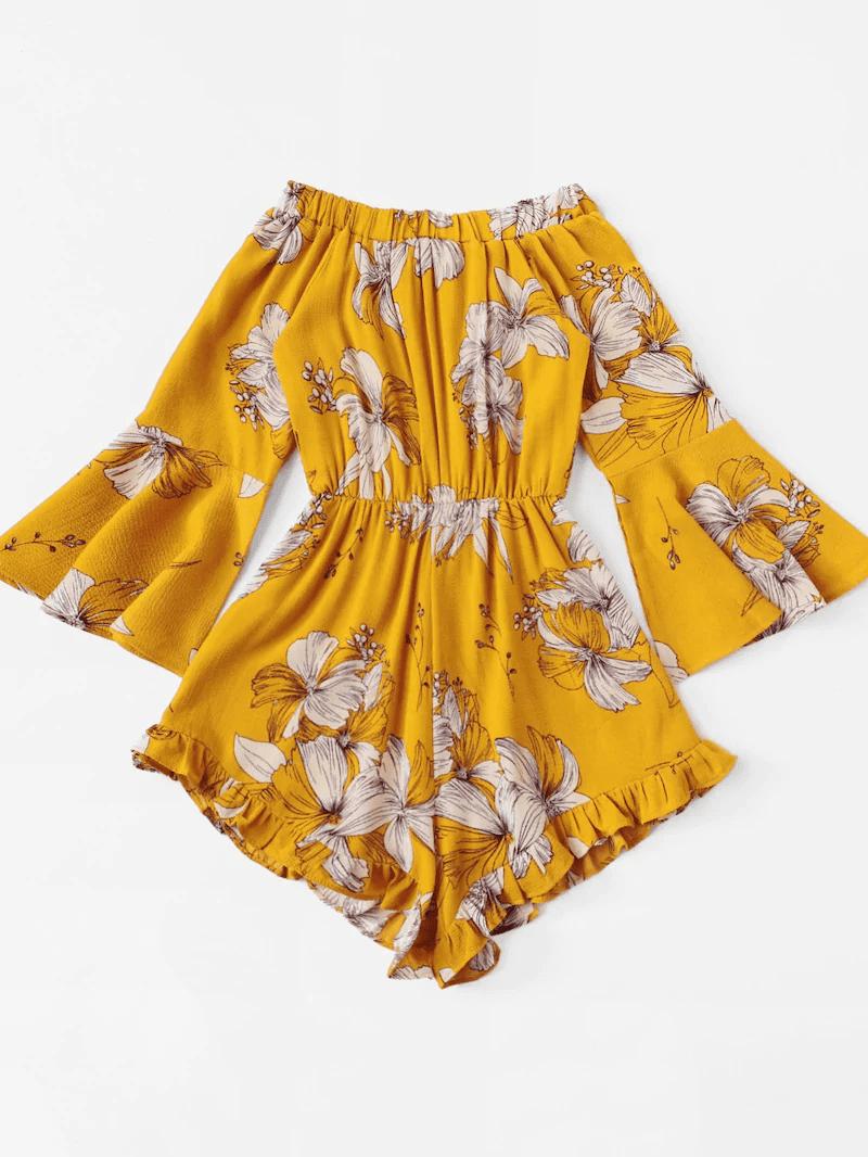 Plus Floral Print Ruffle Hem Off Shoulder Romper, Yellow