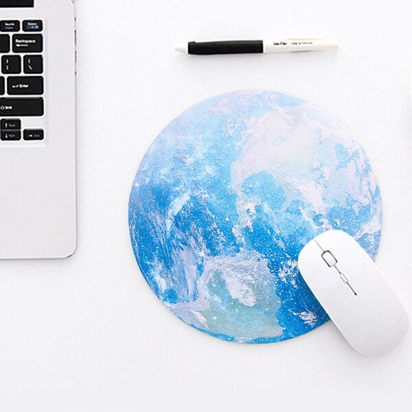Planet Print Round Mouse pad