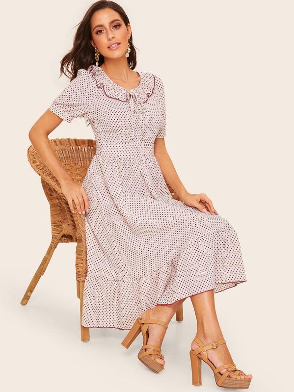 50s Ruffle Trim Knot Detail Dot Dress