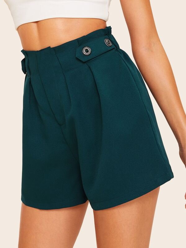 60s High Waist Boxed Pleated Shorts