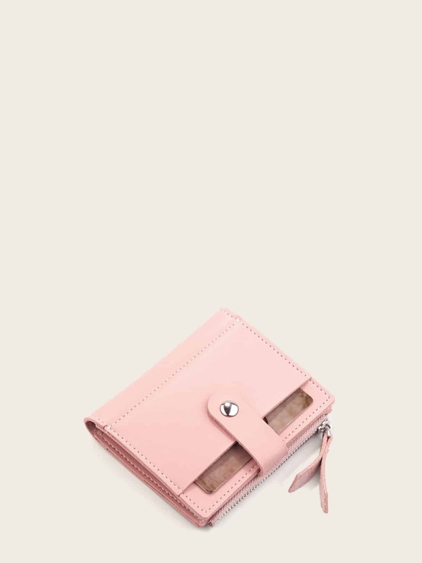 Fold Over Side Zip Purse, Pink