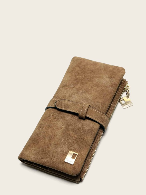 Fold Over Suede Purse, Brown