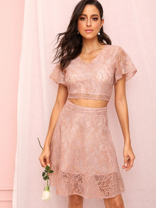 Zip Back Guipure Lace Crop Top With Skirt, Mary P.