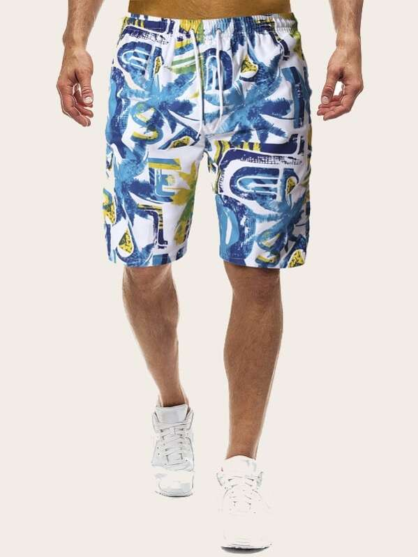 Men Tropical Print Drawstring Bermuda Shorts