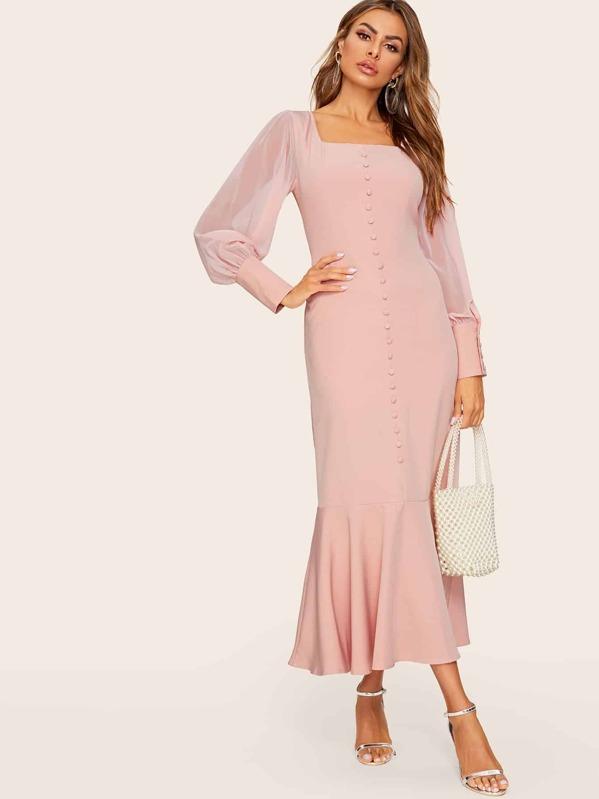 Contrast Mesh Sleeve Ruffle Hem Dress, Pink, Andy