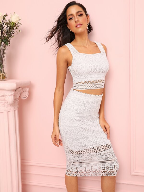 Zip Back Lace Crop Top With Skirt, Mary P.