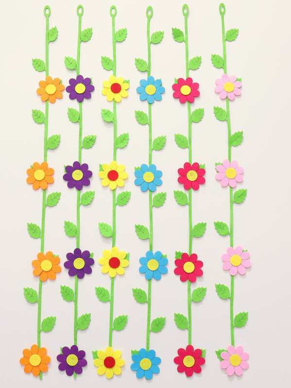 Flower Decor Wall Sticker 6pcs