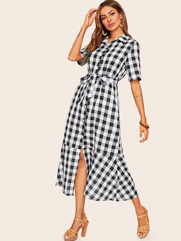 Gingham Ruffle Hem Belted Shirt Dress, Black and white, Andy