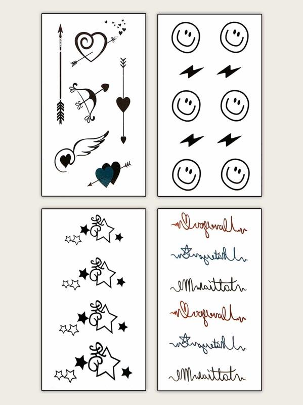 Mix Pattern Shaped Tattoo Sticker 4sheets
