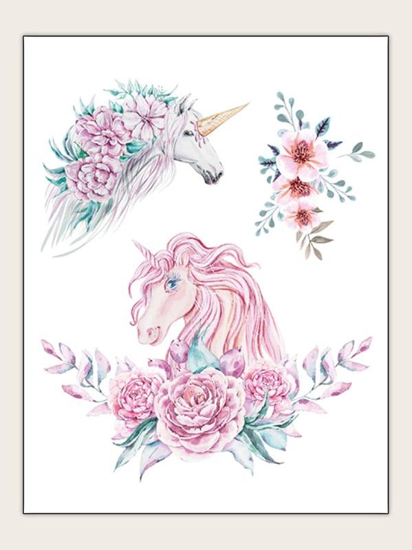 Flower & Unicorn Shaped Tattoo Sticker 1sheet