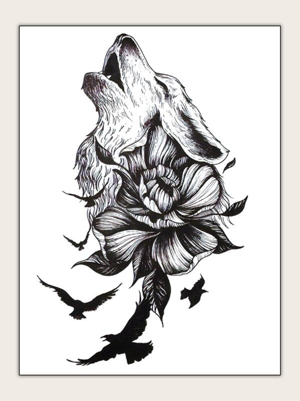 Flower & Wolf Shaped Tattoo Sticker 1sheet