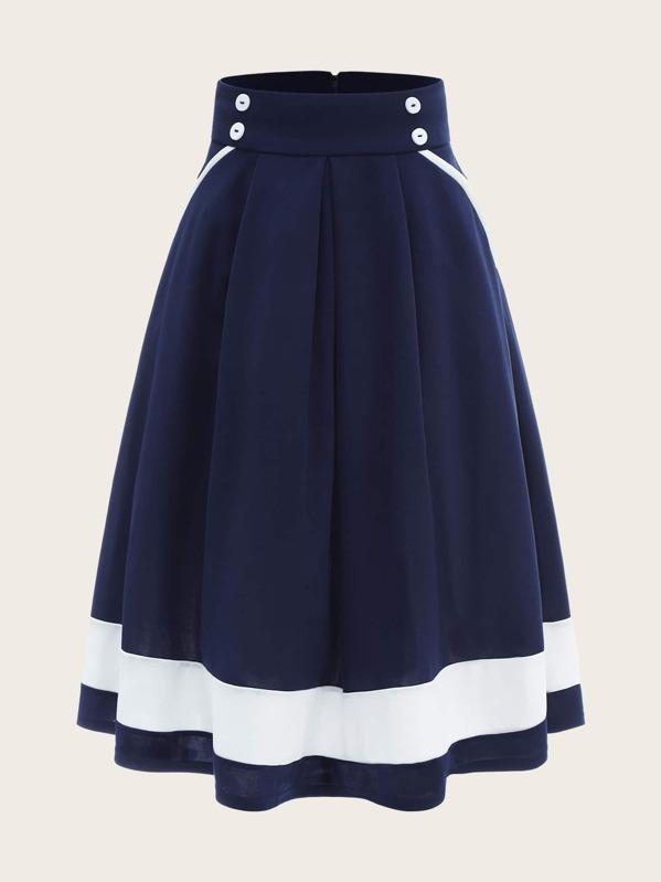 Контрастная юбка из 50-х со складками и пуговицами