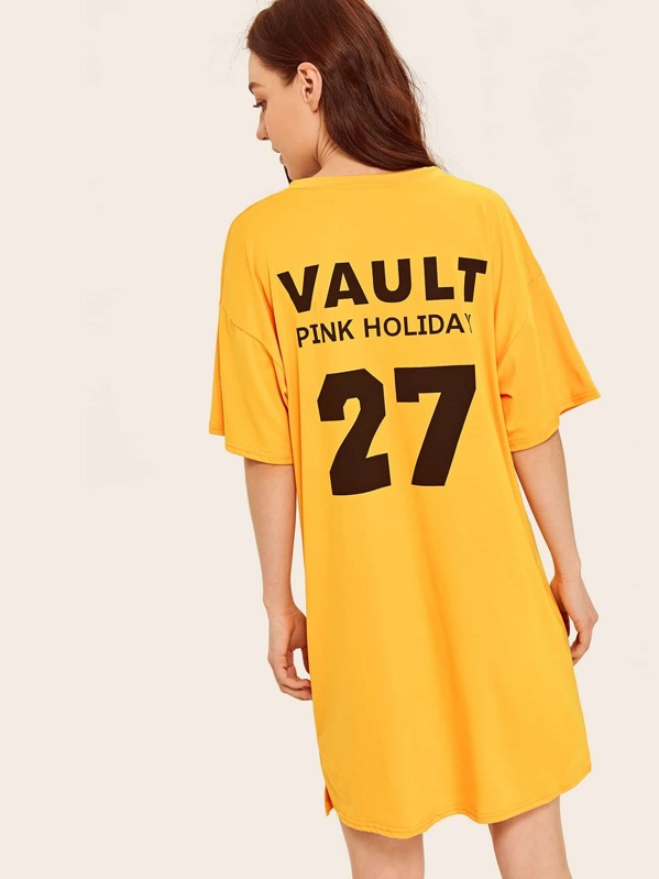 Number & Letter Graphic Night Dress, Yellow, Poly
