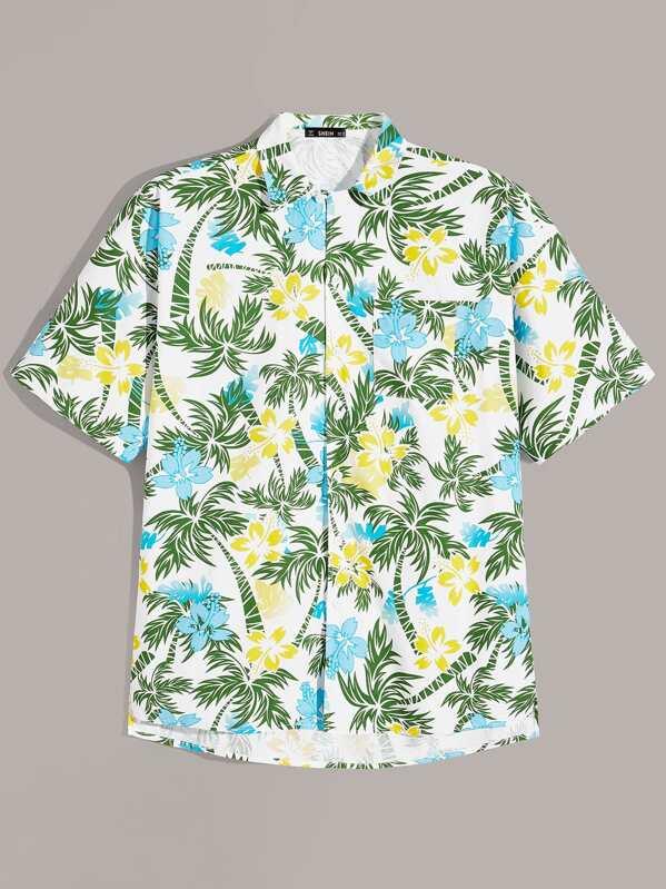 Men Pocket Front Tropical Shirt
