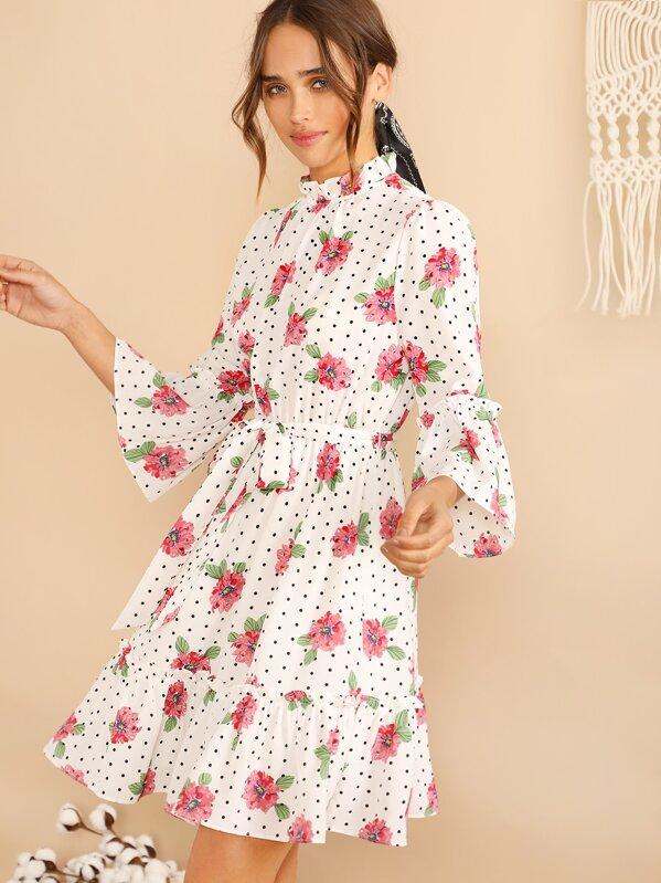 Mock-neck Belted Bell Sleeve Floral Polka Dot Dress, Carolina Sanchez