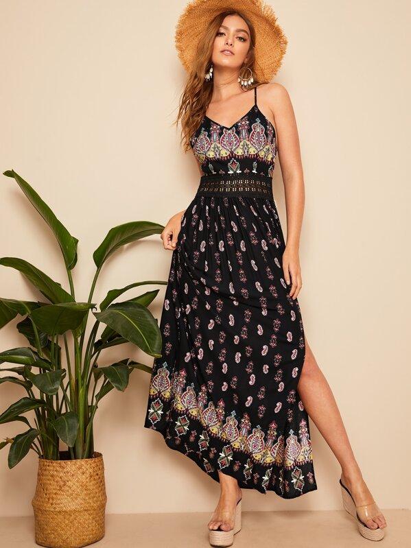 Lace Detail Waist Tribal Split Thigh Slip Dress, Luiza