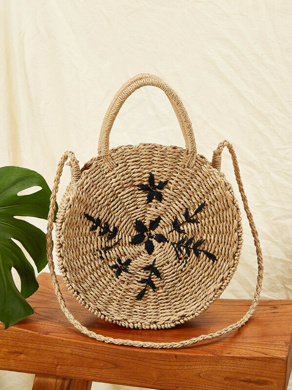 Leaf Embroidery Round Satchel Bag, Brown