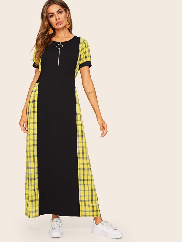 Contrast Plaid Puff Sleeve Longline Dress, Multicolor, Andy