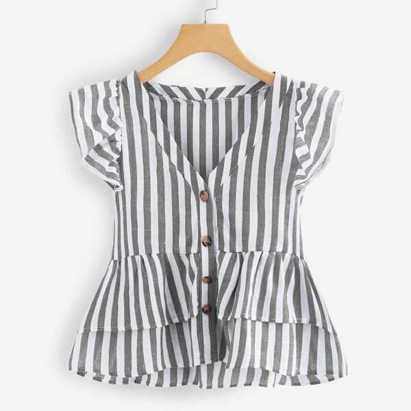 Plus Tiered Layer Hem Striped Blouse, Grey