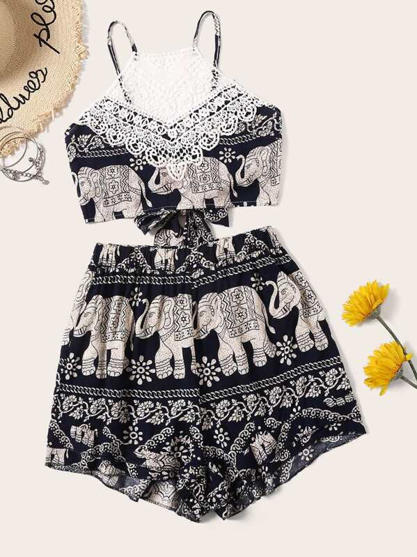 Elephant Print Lace Panel Tie Back Top With Shorts, null