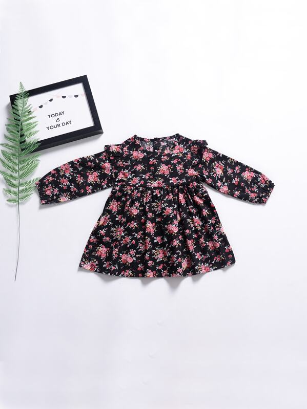 Toddler Girls Ditsy Floral Print A-line Dress, null