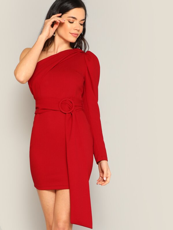 One Shoulder Buckle Belted Fitted Dress