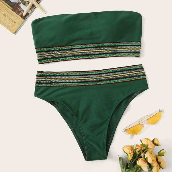 Striped Trim Bandeau Bikini Set, Green