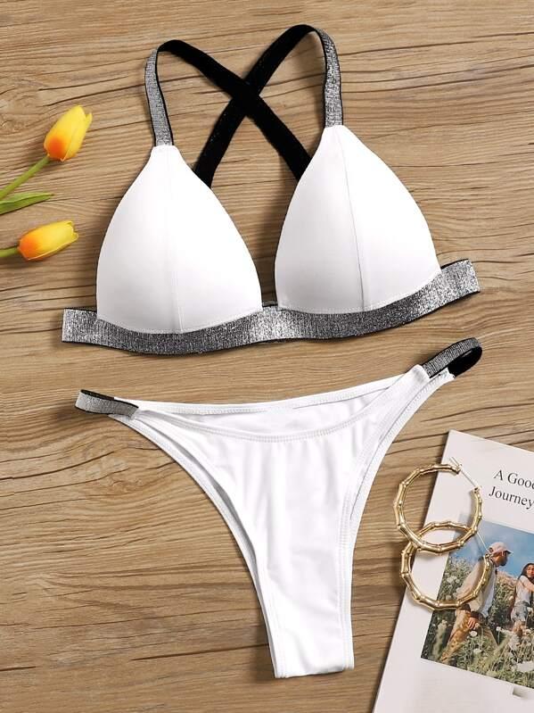 Glitter Tape Detail Top With Tanga Bikini Set, White