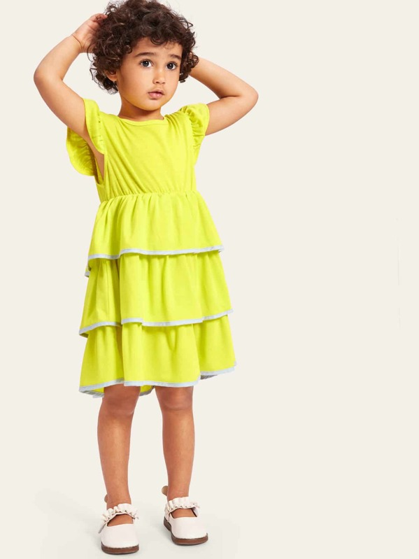 Toddler Girls Contrast Binding Layered Ruffle Dress, Green, Gabi Prado
