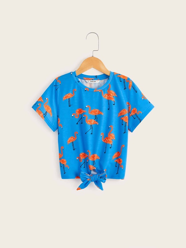 Girls Knotted Hem Flamingo Print Tee