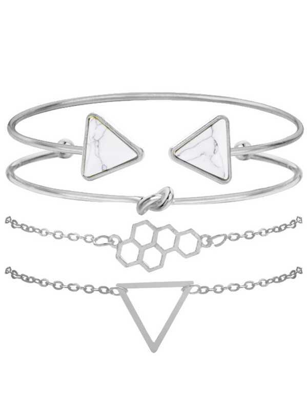 Geometric & Twist Detail Bracelet Set 4pcs