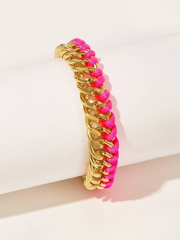 Two Tone String & Metal Woven Bracelet 1pc, null