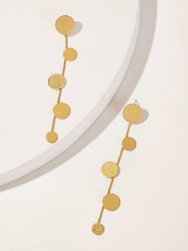 Textured Disc Decor Drop Earrings 1pair, null