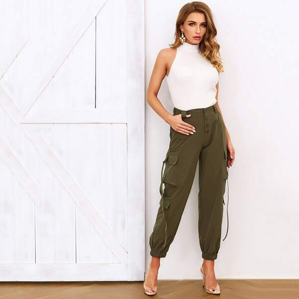 Joyfunear Pocket Patched Hanging Strap Detail Pants, Army green