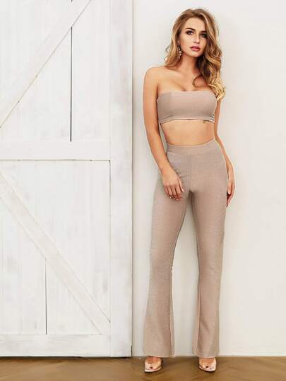 a3e126a1a3257 Joyfunear Glitter Crop Bandeau Top   Flare Leg Pants Set