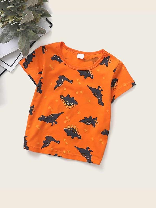 Toddler Boys Dinosaur & Star Print Tee