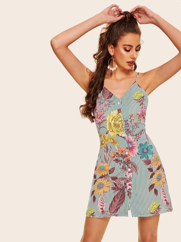 Button Stripe And Floral Print Tie Back Cami Dress, Mariana D
