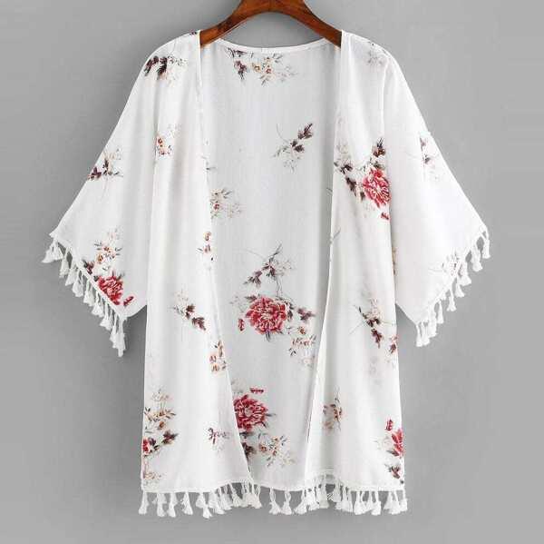 Plus Fringe Floral Print Kimono, White