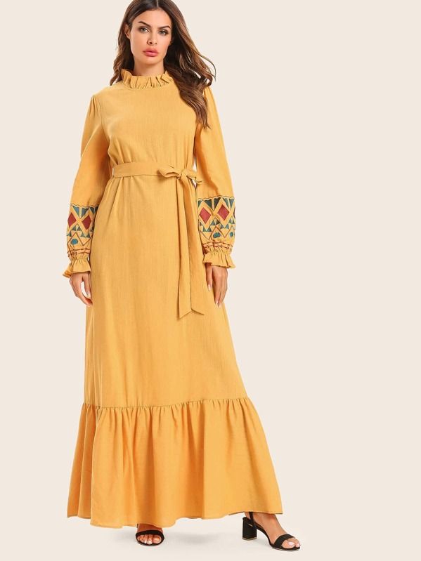 Flounce Hem Embroidery Belted Dress, null