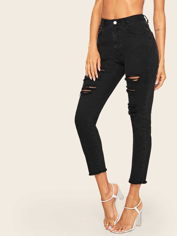 Ripped Raw Hem Jeans, Andy