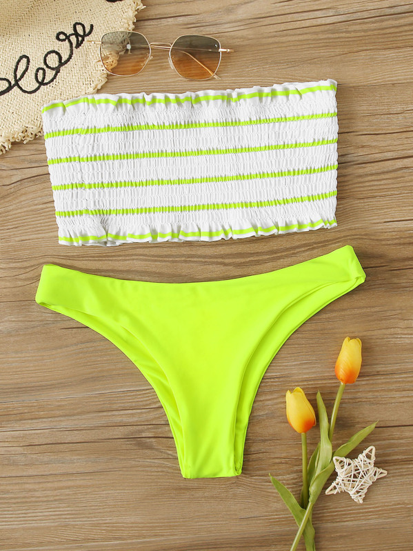 aa572acc8d Striped Smocked Bandeau With Hipster Bikini, null - shein.com ...
